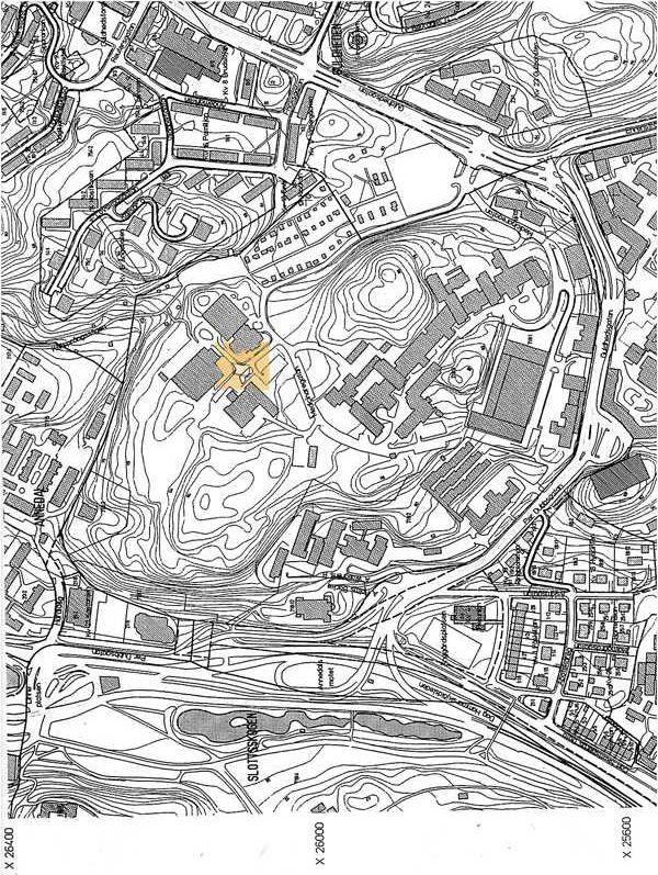 Stationen inritad på en karta från 1990
